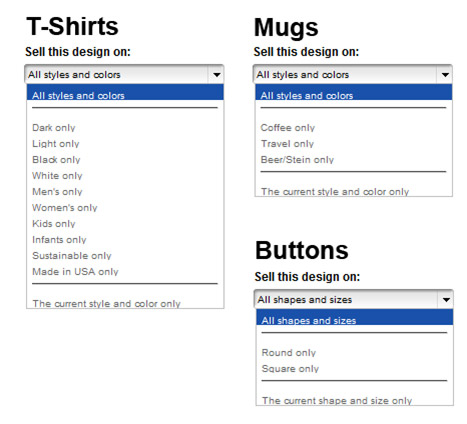 Product Style Dropdowns